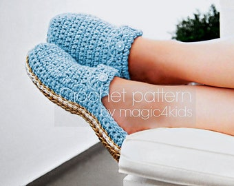 Crochet pattern - women clogs with jute rope soles,soles pattern included,women sizes,cord,twine,adult,scuffs,slippers,loafers,flip flops