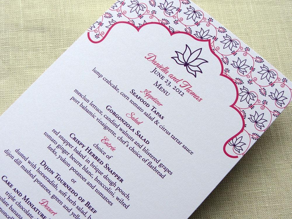 Indian Menu Elegant Lotus Floral Reception Dinner