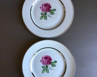Embassy American EMB6 Bread Plates Vitrified China Large Pink Rose Blossom & Platinum Trim Vintage Set 2 - #5711