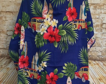 Blue Hawaiian Print Nursing Cover Up - Nursing Apron - Breastfeeding Cover