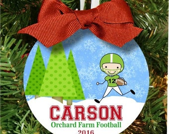 Christmas Ornament, Football Ornament, Football Christmas Ornament, Personalized Boys Ornament, Football Christmas Gift