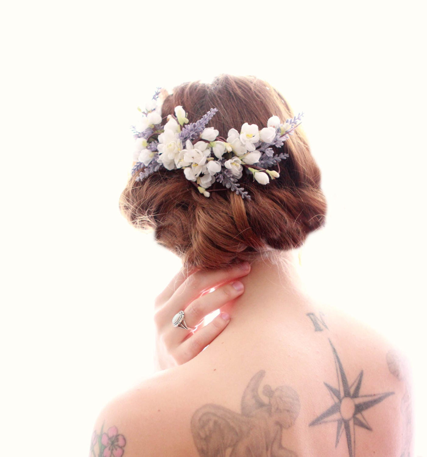 20 Wedding Hairstyles With Flowers: Lavender Floral Vine Comb Cherry Blossom Bridal Flower Hair
