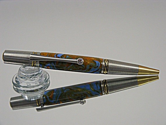 Handcrafted Majestic Ink Pen in Antique Brass and Pewter with Acrylic