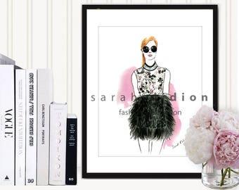 Fashion Art from Original Watercolor Fashion Illustration, Fashion Wall Art