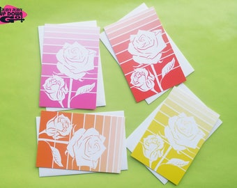 Valentines Day Rose Cards (set of 4), Flower Rose Art Note Cards & Greeting Cards