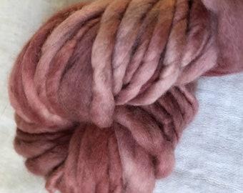 Salmon Pink Mini  Hank Merino Hand spun, Hand dyed Chunky Yarn 25 Metres