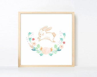 Bunny Art Printable, Peach Aqua Green Rabbit Wall Art, Watercolor Flowers Nursery Art Girl Animal, Pastel Peach Mint Artwork Square Large