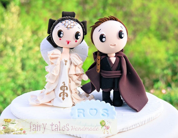 Star wars inspired wedding cake topper with stand princess junglespirit Gallery