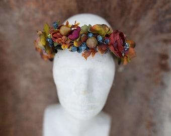 Floral Half Wreath fall flower crown head wreath autumn headband fairy hair crown wedding bridal hair accessories flowers woodland whimsical