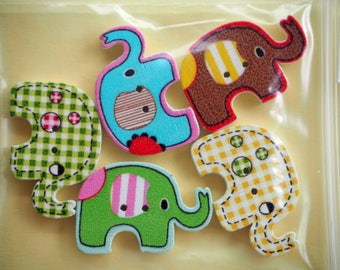5 buttons, wood, medium ELEPHANT, 29x20mm, all different, sewing, scrapbooking, deco, custumisation...