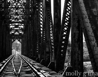 train tracks train bridge photograph 8x10 11x14 16x20