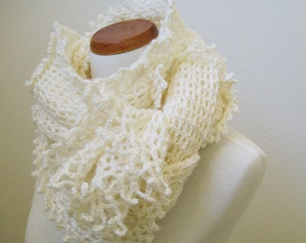 Ivory White Winter Shawl / Scarf