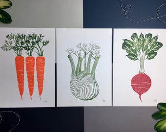 Three Handprinted Colour Lino prints; Beetroot, Fennel and Carrot, Linocut, Vegetable Print, Kitchen Art, Gifts for Chef, Vegetable Art
