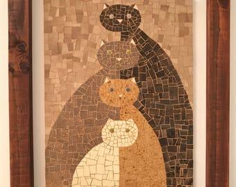 Mosaic wall art. Cats wall art. Mosaic wall decor. Brown cats. Mosaic wall hanging. Catlover. Framed art.