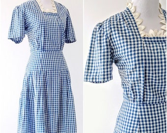 Vintage 1930's Blue Gingham Dress | 1940's Gingham Dress |