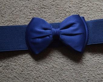 Bow cinch belt ,Wide elastic stretch corset belt, cinch belt with big bow,pink belt,blue belt , 24 inch to 32 inches , Royal blue belt
