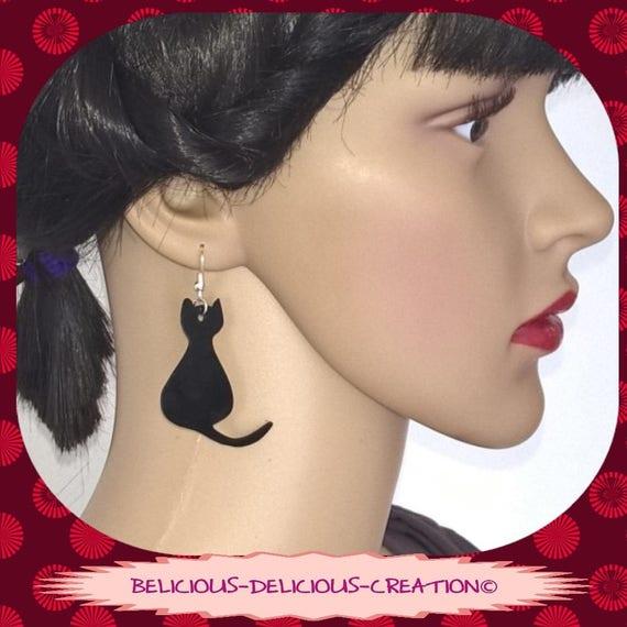 Original earrings! MEOW! Pattern Cat in black plastic size: 2.1 cm x 4.5 cm belicious delicious creation