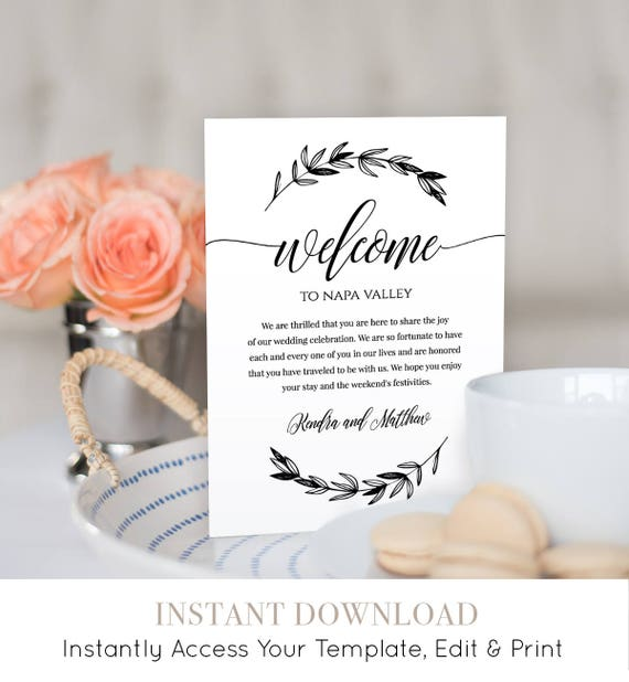 Wedding Welcome Bag Letter Insert, Welcome Bag Note, Wedding Thank You, Itinerary, Agenda, Instant Download, Editable, Digital #023-101WB