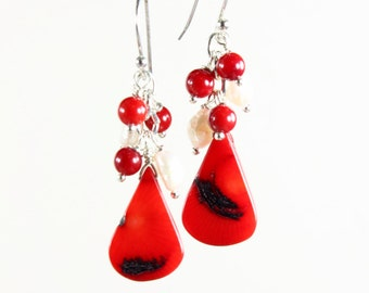 Red Bamboo Coral Earrings, Sterling Silver, boho earrings, red gemstone & pearls, statement cluster earrings, holiday gift for her, 2864