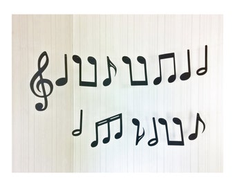 musical notes paper cut bunting 5.5 inch - set of 14