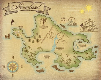 Neverland Map (11x17 and 16x20)