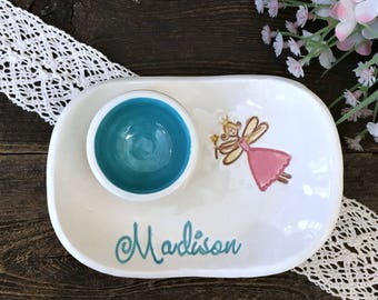 Personalized Tooth Fairy Dish - Ceramic Personalized Dish for Tooth Fairy Visits, Tooth Fairy Pillow Alternative,