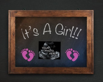 Gender Reveal Pregnancy Announcement, It's a Girl, ultrasound, sonogram, chalkboard printable, 2017 baby, february due, digital announcement