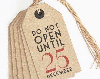 East of India Do Not Open Until 25th December Christmas Vintage Tags x6