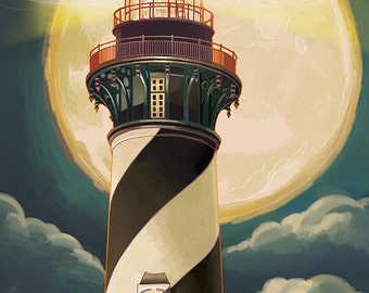 St. Augustine, Florida - Lighthouse and Moon (Art Prints available in multiple sizes)