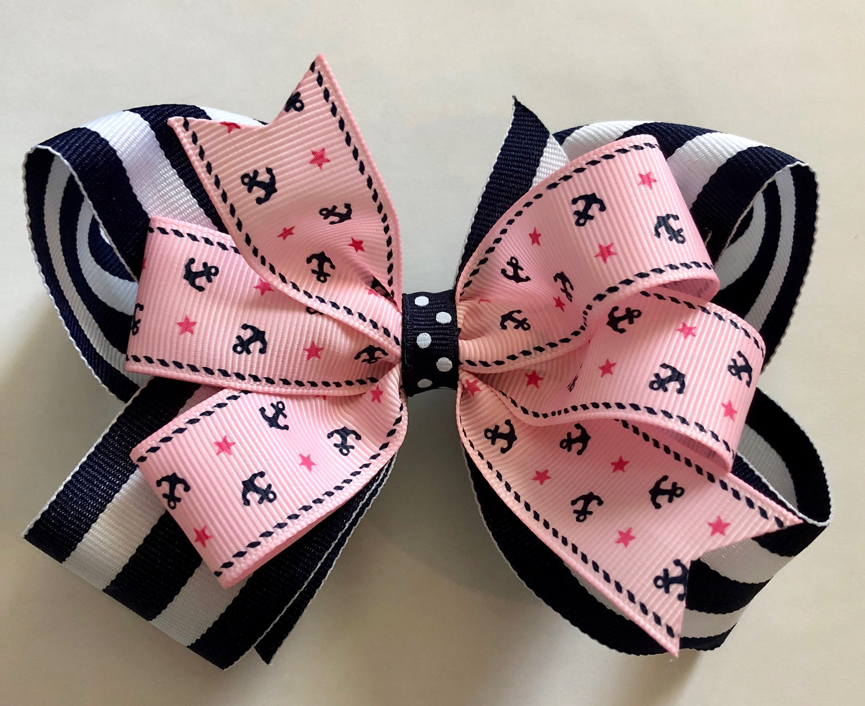 Navy and Pink Nautical Bow with Anchors Pink and Navy Bow Pink
