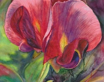 """Sweet Peas. Flower, Magenta, Spring Green, Forest Floor, Floral, Garden, Plant, Watercolor Fine Art Print 14.75"""" x 20"""" by Janet Dosenberry"""""""
