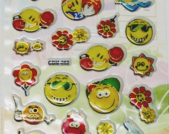 Puffy stickers, smileys, craft stickers, children stickers, cute smileys, 3D, emboss stickers