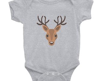 Deer Emoji Face Baby Onesie   Nature, Wildlife   Deer Antlers Animal