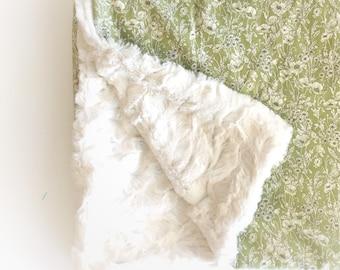 Botanische Babymädchen Decke - Boho Decke Kinderwagen Decke / Floral Babydecken / Minky Decke Hase Mädchen Kinderzimmer Decke sofort lieferbar