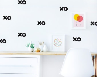 Xoxo Wall Decal Black Décor in Kids Room Fabric Wall Decal Hugs and Kisses Children Décor Modern Kids Room Wall Decor. Xoxo Wall Decal