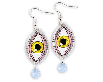 Eye Earrings - Transparent Perspex Laser Cut Teardrop Long Cry Baby Colorful Pink Yellow Kitschy Weird Rad Cry Me A River Edgy