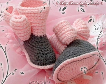 BIG BOW baby boots Crochet pattern - Permission to sell finished items - No sewing - Pattern No. 178