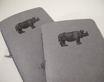 Rhino Pocket Notebooks: Set of Two Grey and Black Rhinoceros Embossed Small Journals Cahier