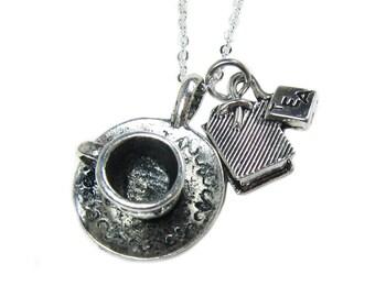 Tea Cup and Tea Bag Necklace  (T4)
