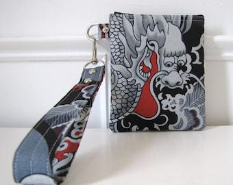 Wristlet Zipper Gadget Pouch in Tatsu Grey Design