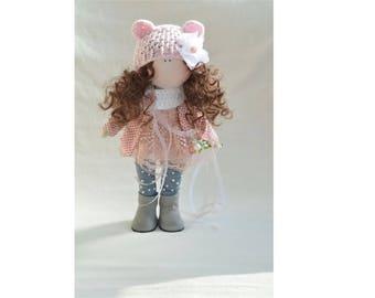 Pinky doll SHİPPİNG FREE İnterior doll Decorative doll Fabric doll Textile doll Rag doll Luxury doll Pink dress doll Softie doll Organic