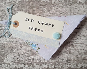 wedding favor handkerchief For Happy Tears favour cotton gift floral hankie bridesmaids, mother of the bride favours blue
