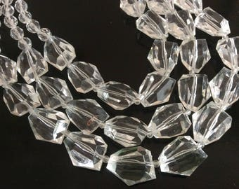 CHUNKY CRYSTAL STRAND Necklace Statement Necklace Women's Jewelry Costume necklace 3 strand crystal geometric jewelry vintage necklace