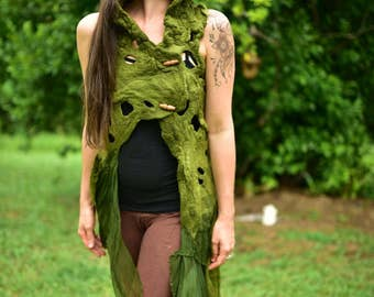 Felt Melted Vest-Felt Gown-Nymph Top-Woodland Costume-Pixie Vest-Tree Costume-Nuno Silk Gown-Felt Vest-Fairy Costume-Elf Costume- OOAK