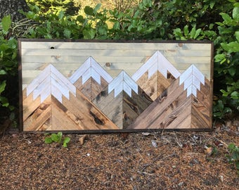Large Five Rustic Wood Mountains Wall Art