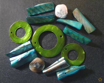 Mother of pearl beads in green and blue pieces lot of 14 pieces