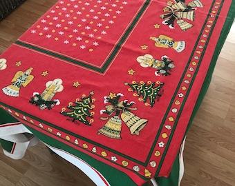 Christmas Banquet Tablecloth, Retro Christmas Tablecloth, Vintage Christmas Linens, Holiday Banquet Tablecloth, Large Christmas Tablecloth