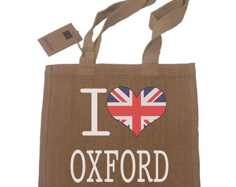 I Love Oxford Gift Jute Compact Shopping Bag