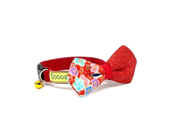 GOOOD Cat Collar   Mighty Angled Bow - Spring Festival   100% Pattern Floral & Red Fabric   Safety Breakaway Buckle