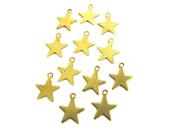 Tiny Brass Engraving Star Charms (20X) (M788)